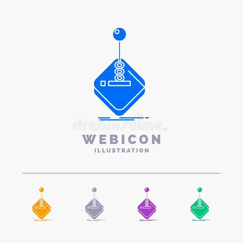 Arcade, game, gaming, joystick, stick 5 Color Glyph Web Icon Template isolated on white. Vector illustration. Vector EPS10 Abstract Template background stock illustration
