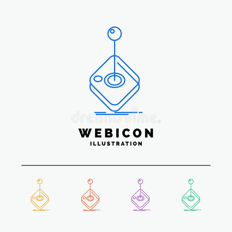 Arcade, game, gaming, joystick, stick 5 Color Line Web Icon Template isolated on white. Vector illustration. Vector EPS10 Abstract Template background vector illustration