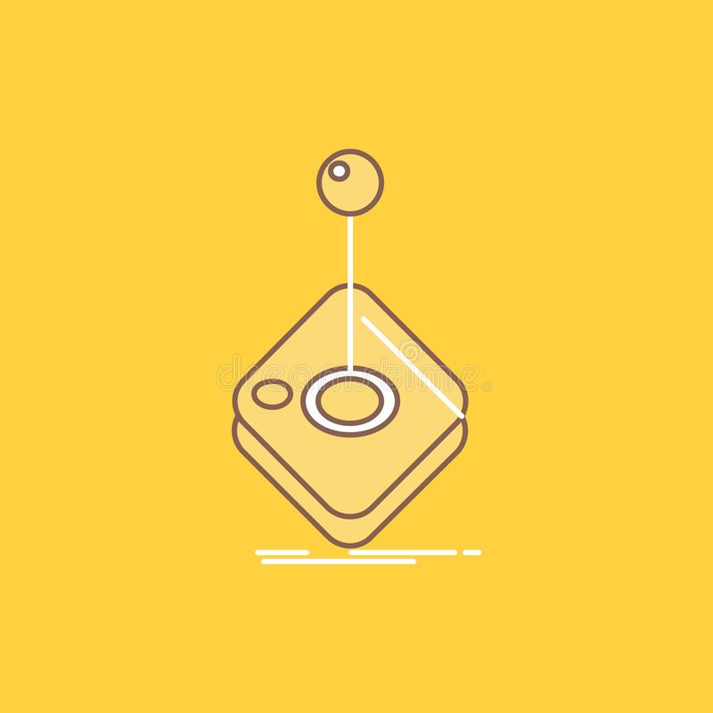 Arcade, game, gaming, joystick, stick Flat Line Filled Icon. Beautiful Logo button over yellow background for UI and UX, website. Or mobile application. Vector vector illustration