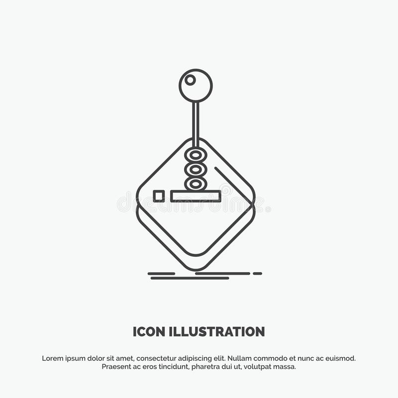 Arcade, game, gaming, joystick, stick Icon. Line vector gray symbol for UI and UX, website or mobile application. Vector EPS10 Abstract Template background royalty free illustration