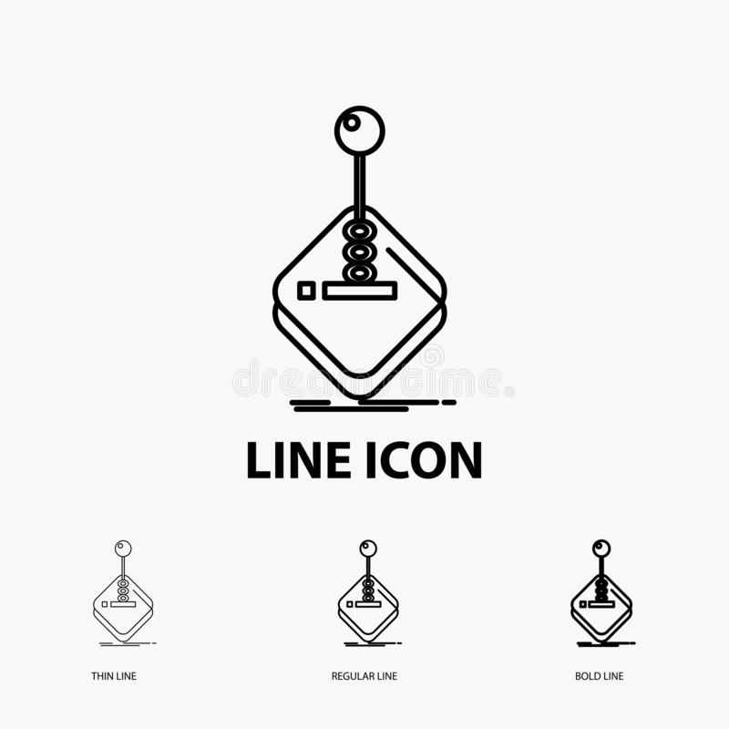 Arcade, game, gaming, joystick, stick Icon in Thin, Regular and Bold Line Style. Vector illustration. Vector EPS10 Abstract Template background stock illustration