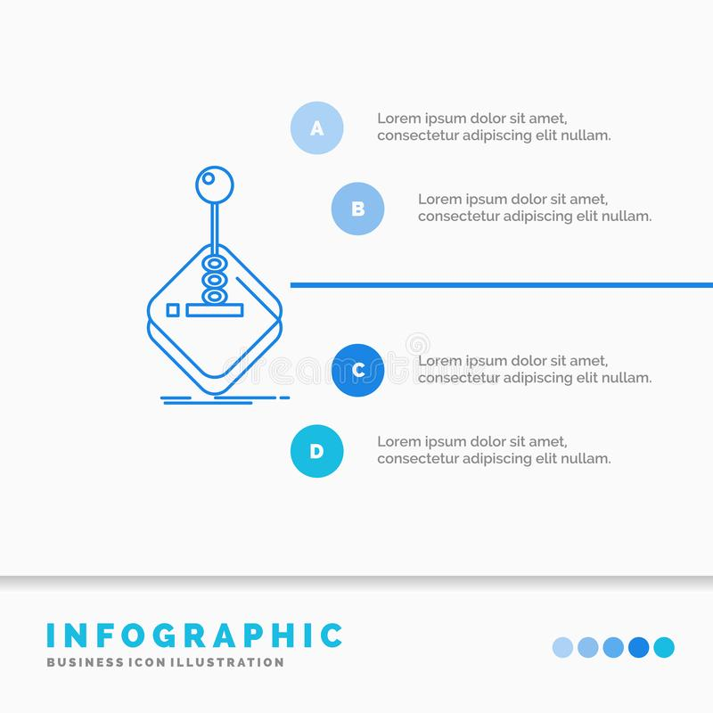 Arcade, game, gaming, joystick, stick Infographics Template for Website and Presentation. Line Blue icon infographic style vector. Illustration. Vector EPS10 stock illustration