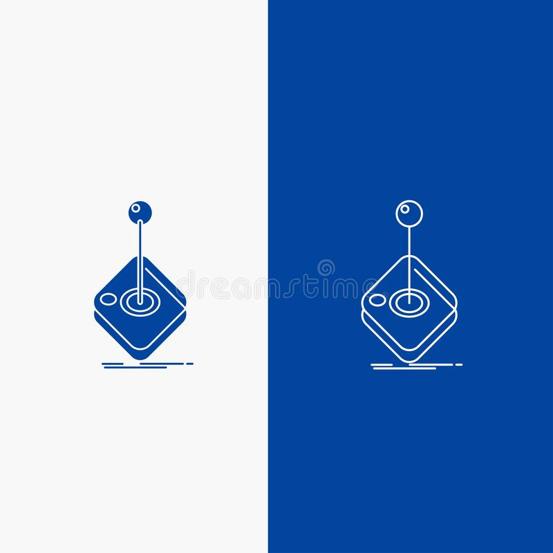 Arcade, game, gaming, joystick, stick Line and Glyph web Button in Blue color Vertical Banner for UI and UX, website or mobile. Application. Vector EPS10 stock illustration