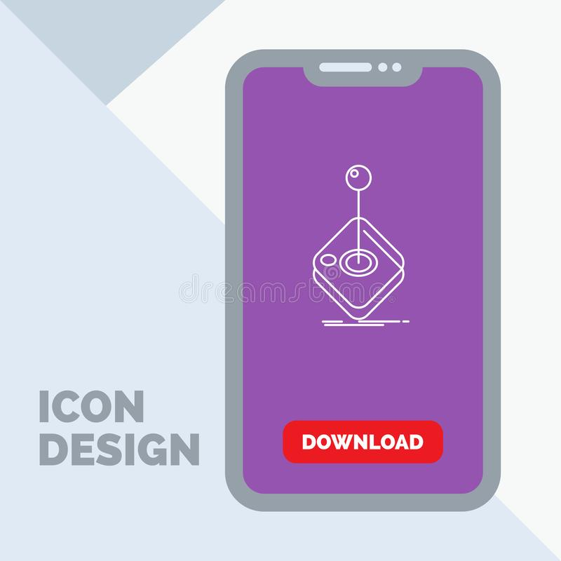 Arcade, game, gaming, joystick, stick Line Icon in Mobile for Download Page. Vector EPS10 Abstract Template background royalty free illustration