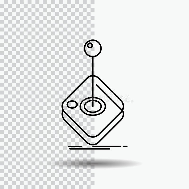 Arcade, game, gaming, joystick, stick Line Icon on Transparent Background. Black Icon Vector Illustration. Vector EPS10 Abstract Template background vector illustration