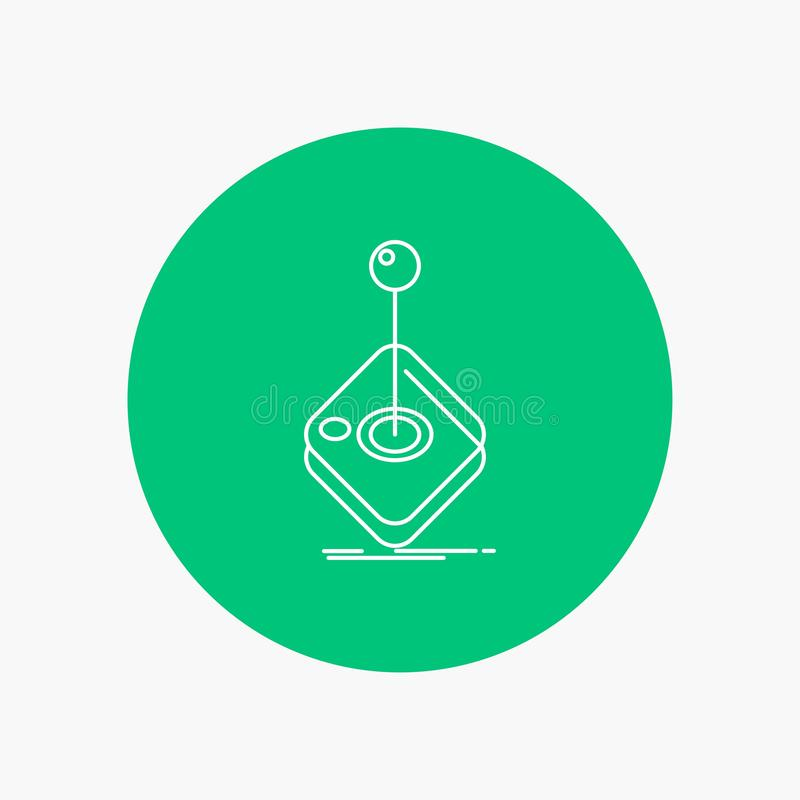 Arcade, game, gaming, joystick, stick White Line Icon in Circle background. vector icon illustration. Vector EPS10 Abstract Template background royalty free illustration