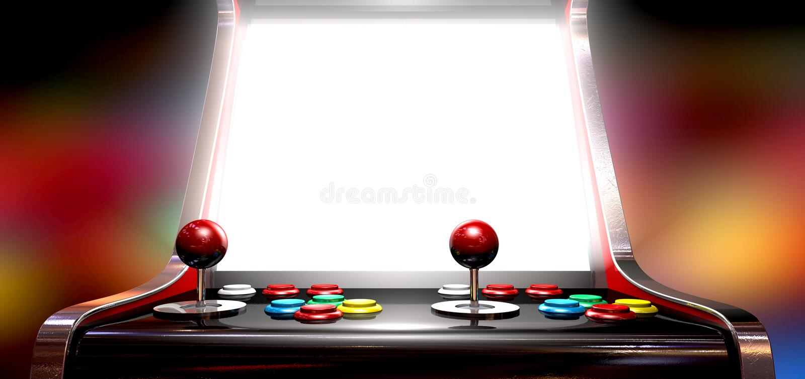 Arcade Game With Illuminated Screen Images stock