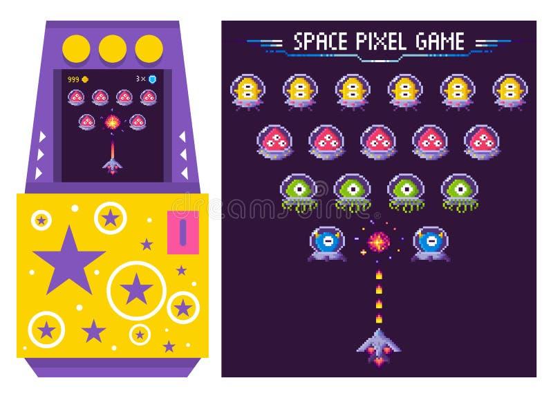 Arcade Game Machine с вектором Alien Monters иллюстрация вектора