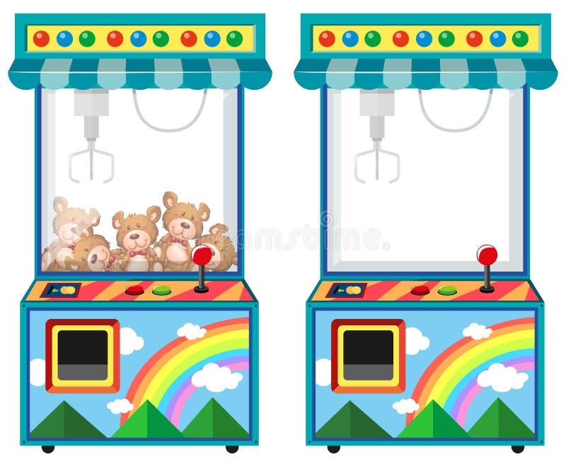 Arcade game machine with dolls stock illustration