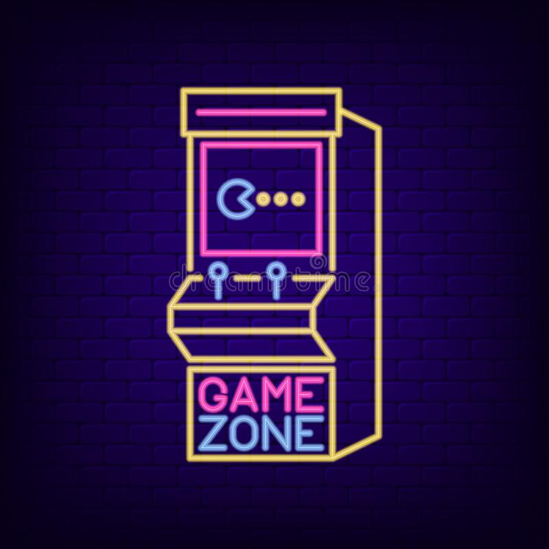 Arcade game machine neon sign. Game Zone night light signboard with retro slot machine. Gaming advertising neon banner. Vector. Arcade game machine neon sign stock illustration