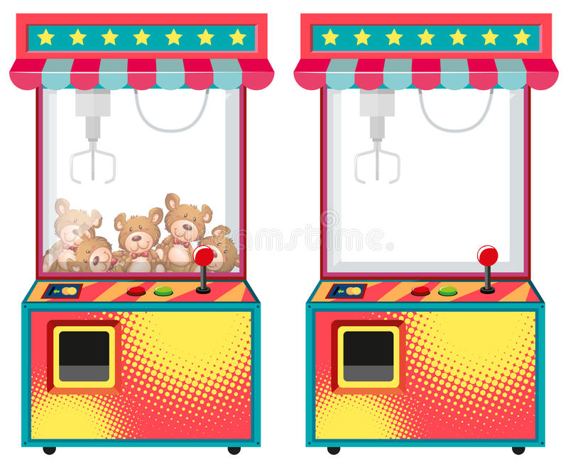 Arcade game machines with dolls stock illustration