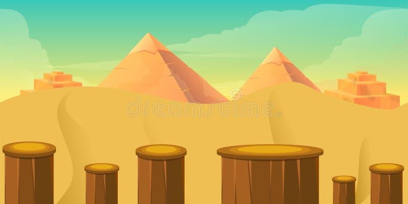 Arcade Game World Deserto com blocos, projeto dos desenhos animados do vetor ilustração stock