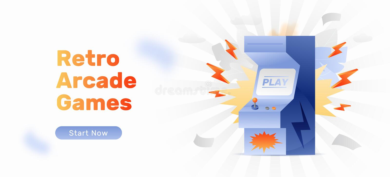 Arcade Gaming Web Banner stock illustrationer