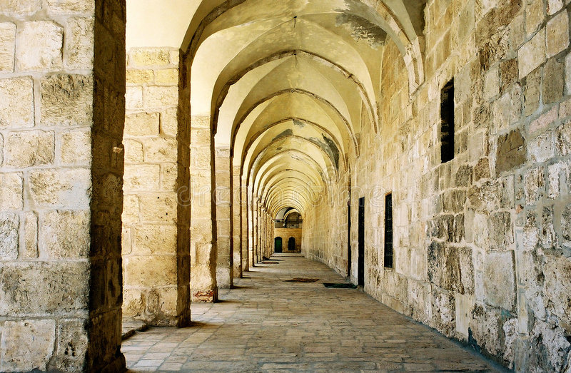 Arcade in Jerusalem. stock photo