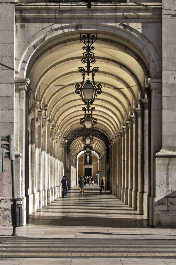 Arcade in Lissabon royalty-vrije stock afbeeldingen