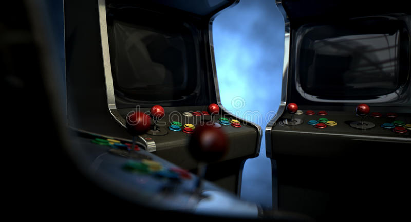 Arcade Machine Group Huddle stockbild