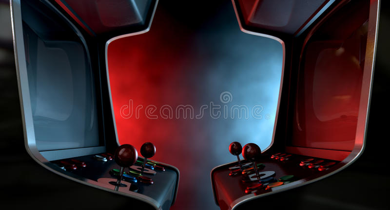 Arcade Machine Opposing Duel. Two vintage unbranded arcade games with a joysticks and buttons and a blank screen opposing each other lit by contrasting colour royalty free stock image