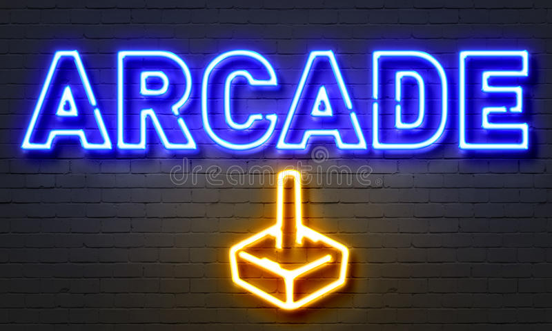 Arcade neon sign on brick wall background. royalty free illustration