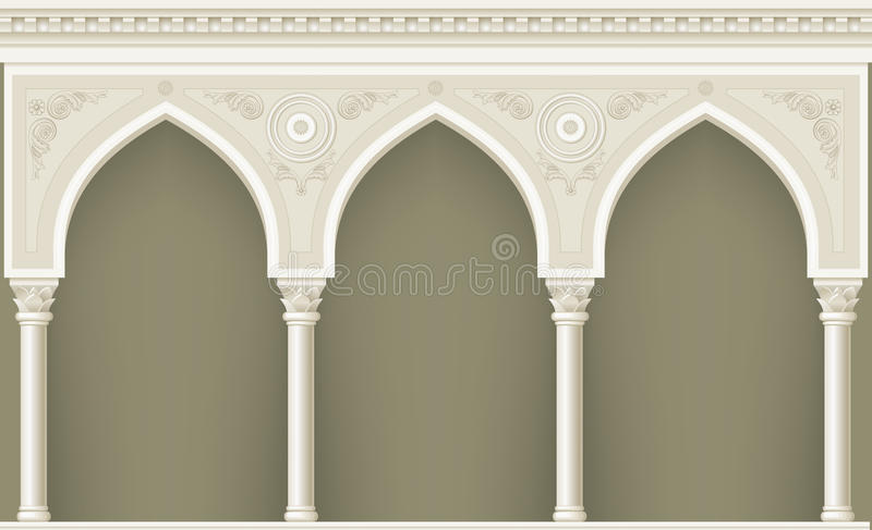 Arcade in oriental style. Palace Arcade in an old oriental style. Facade of a classical building. Vector graphics stock illustration