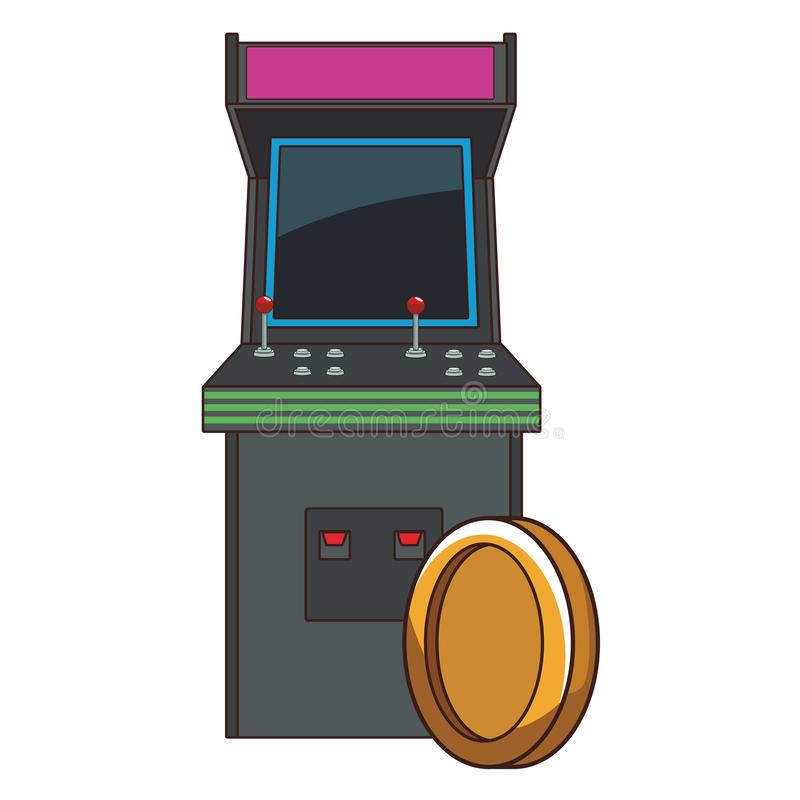 Arcade retro console and coin royalty free illustration