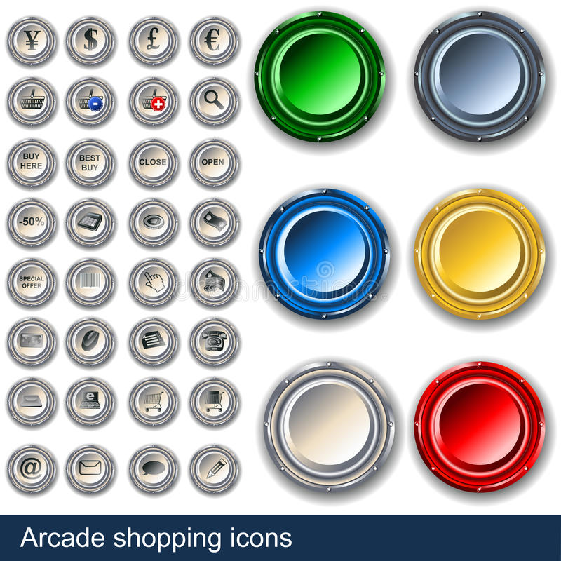 Arcade Shopping Buttons Royalty Free Stock Images