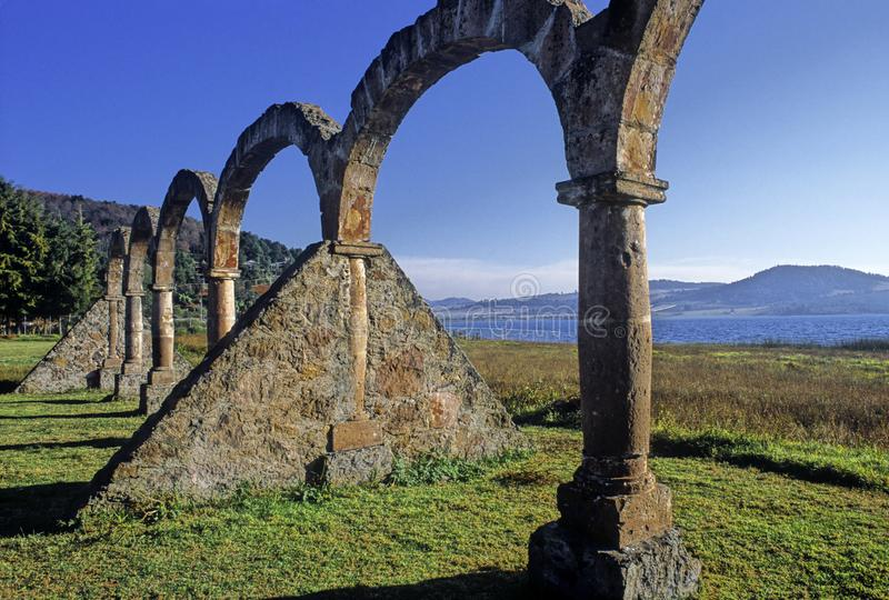 Arches on the shores of Lake of Zirahuen stock images
