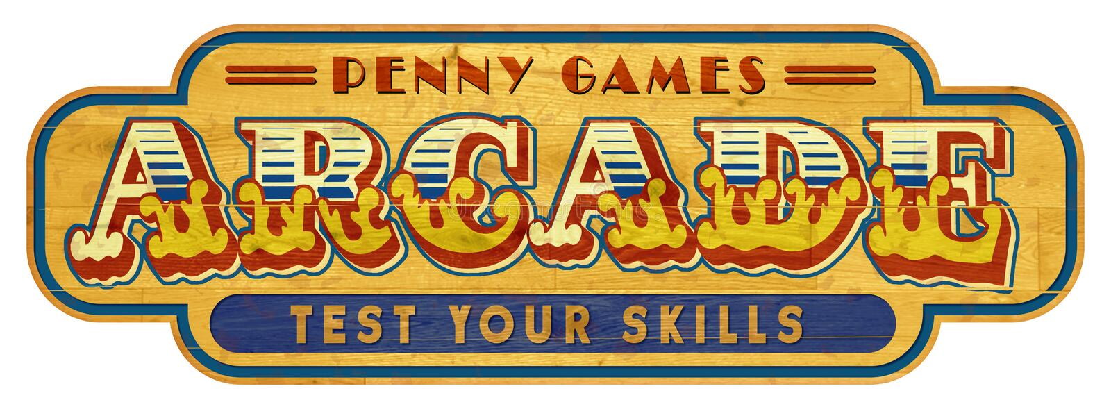 Arcade Sign Wood Vintage royalty free stock images