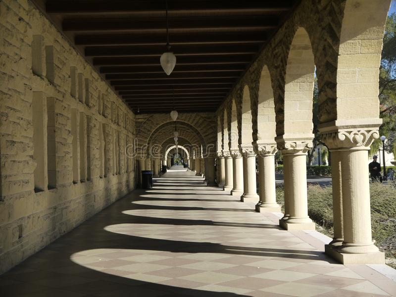 Stanford University: arcade of sunlit arches stock photos
