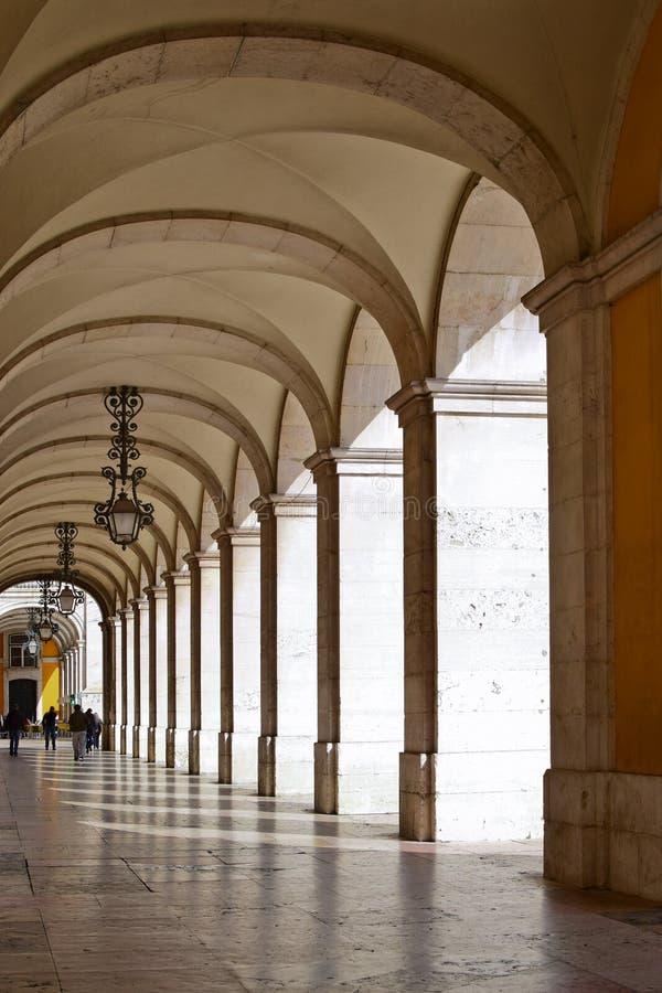 Arcade van het Hooggerechtshof van Rechtvaardigheid in Lissabon stock fotografie
