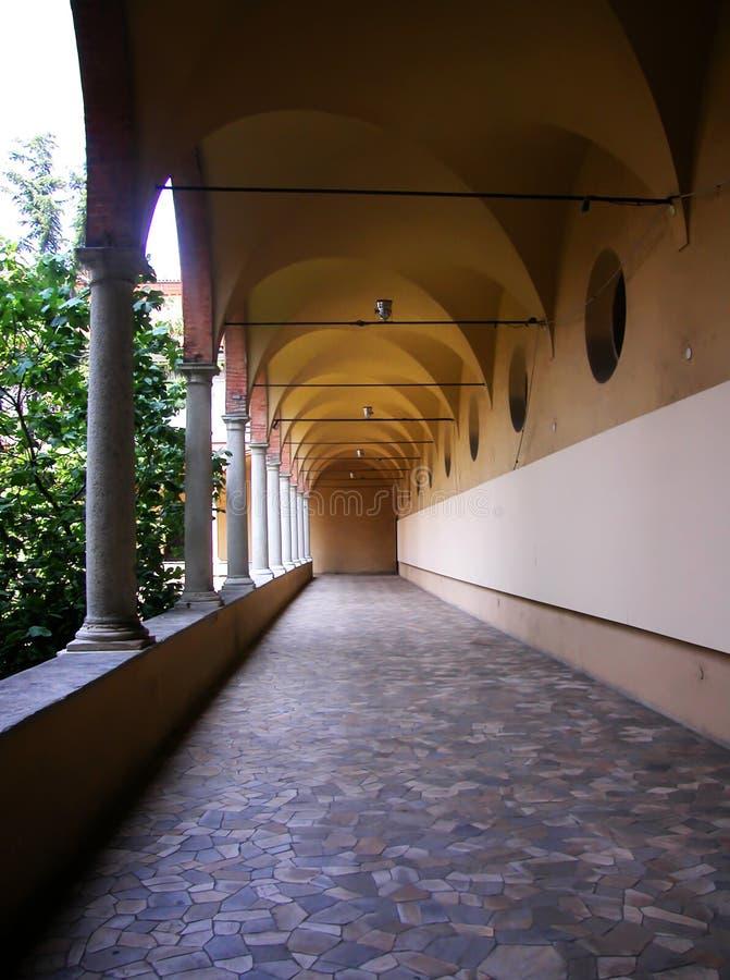 Arcade van het Wetenschapsmuseum van Milaan, Italië stock fotografie