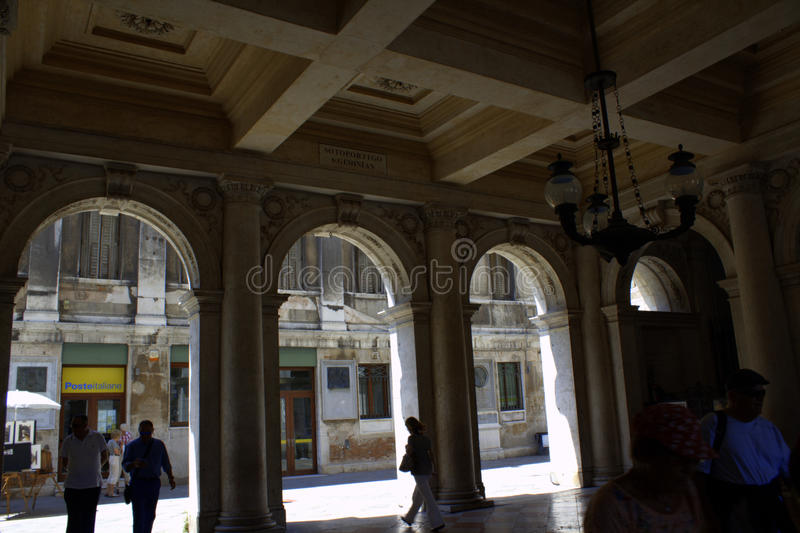 Arcade in Venice Italy. Arcade of the Correr Museum building at St Mark's square, Venice Italy stock photos
