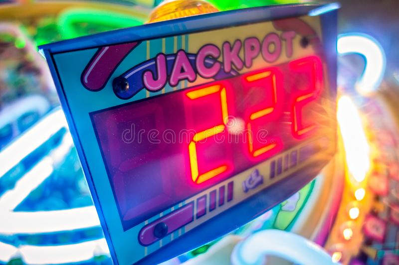 Arcade video games and lights and spinning wheels stock photography