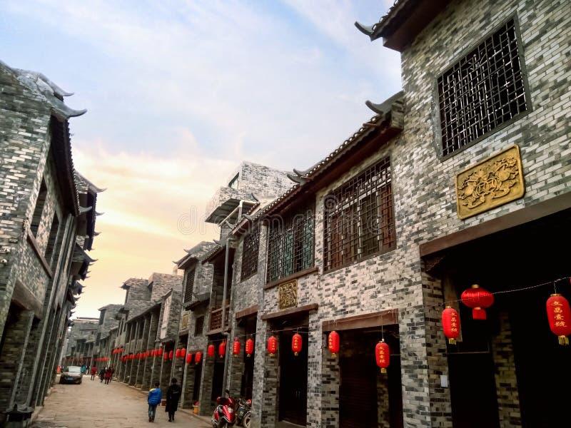 Arcaded streets,Huaiyuan Ancient Town,Guangxi,China stock photo
