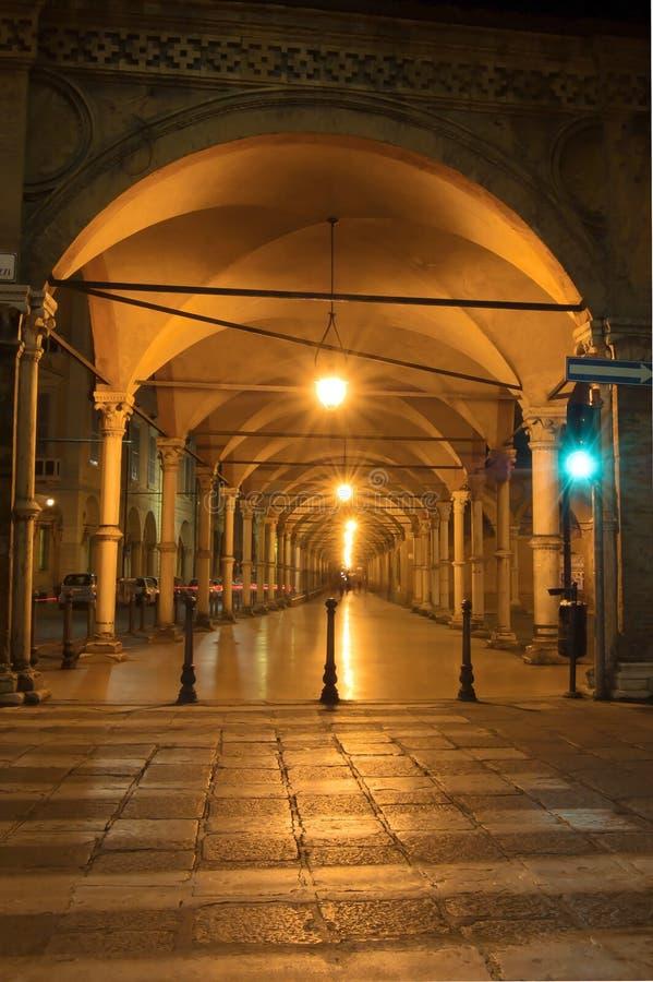 Arcades στη Μπολόνια, Ιταλία στοκ εικόνα με δικαίωμα ελεύθερης χρήσης
