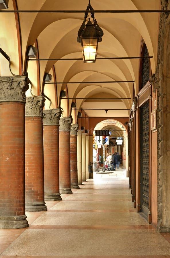 Arcades της πόλης της Μπολόνιας Ιταλία στοκ εικόνες