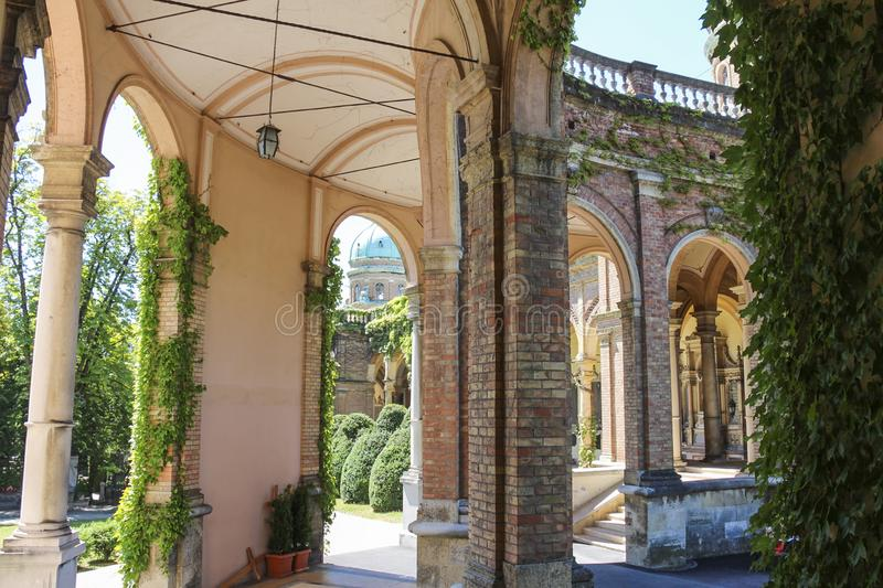 The arcades along Mirogoj Cemetery designed by architect Hermann Bolle completed in 1929 royalty free stock photo