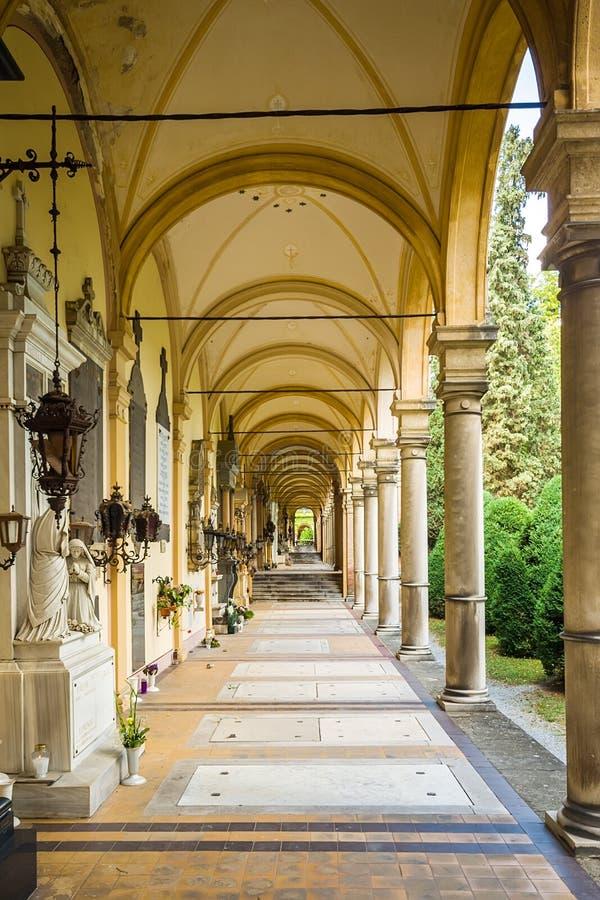 Arcades at Mirogoj Cemetery in Zagreb, Croatia royalty free stock photos