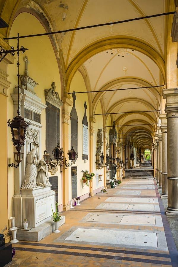 Arcades at Mirogoj Cemetery in Zagreb, Croatia royalty free stock photography
