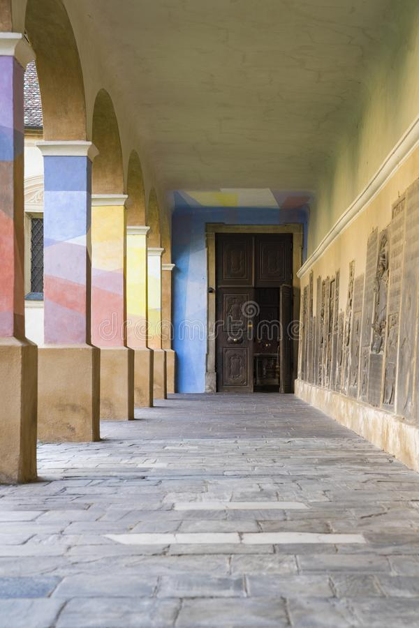 Colorful arcades in Brixen Bressanone, Italy royalty free stock photo