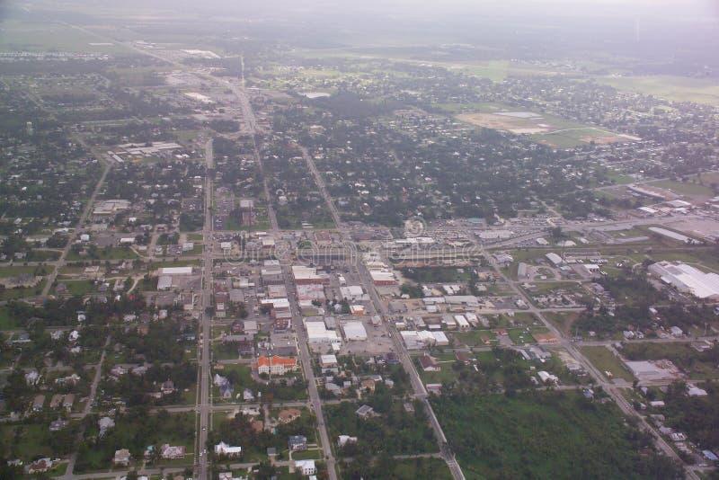 Arcadia, Florida-im Stadtzentrum gelegene Luftaufnahme. stockbild