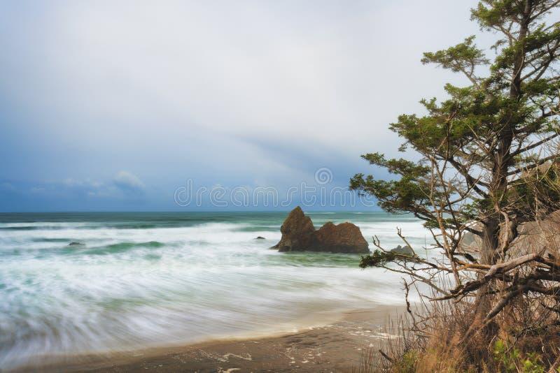 Arcadiastrand onder stormachtige hemel op de Kust van Oregon royalty-vrije stock foto's