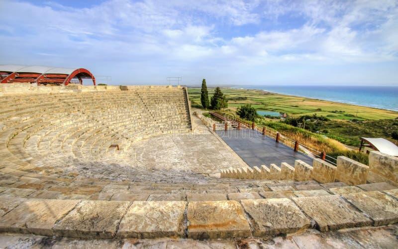 Стародедовский театр Kourion, Лимасола, Кипр стоковое изображение