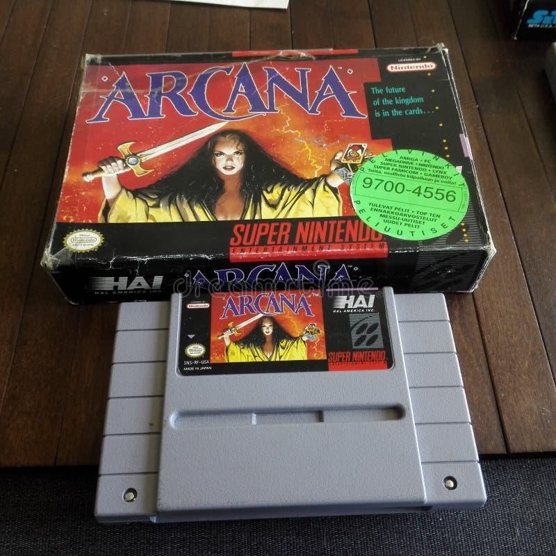 Arcana - игра Snes стоковые изображения