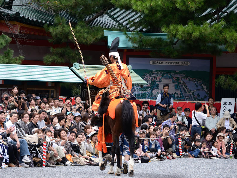 Arcere alla parata di Jidai Matsuri, Giappone del samurai fotografia stock libera da diritti