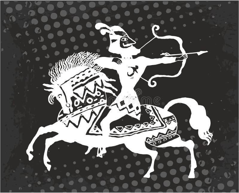 Arcere del guerriero a cavallo illustrazione di stock