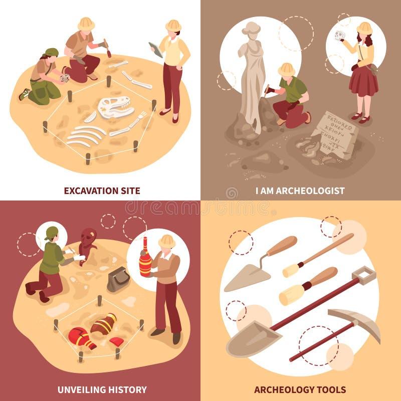 Archäologie-isometrisches Konzept des Entwurfes lizenzfreie abbildung