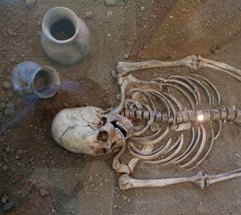 Archäologische Aushöhlungen eines alten menschlichen Skeletts und des menschlichen Schädels lizenzfreies stockbild