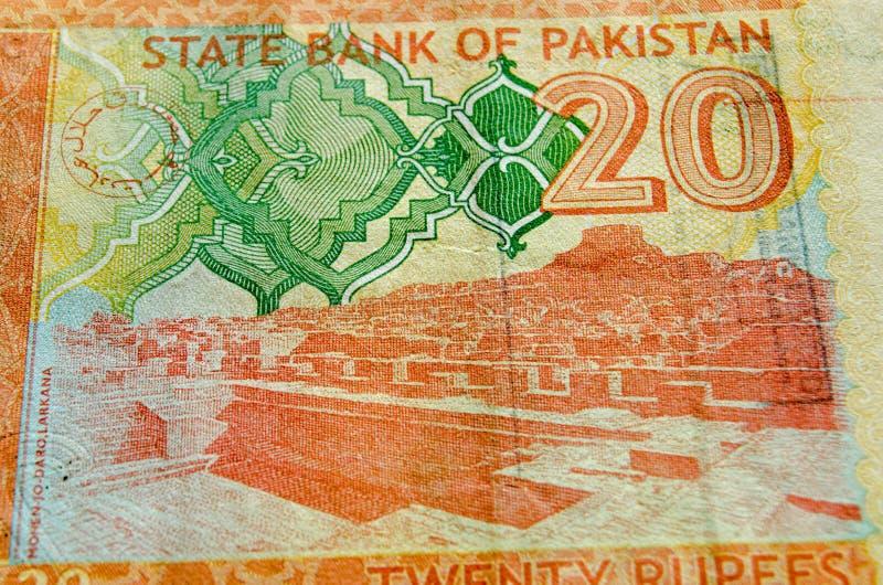 Archäologische Fundstätte auf Pakistan-Banknote stockfotos