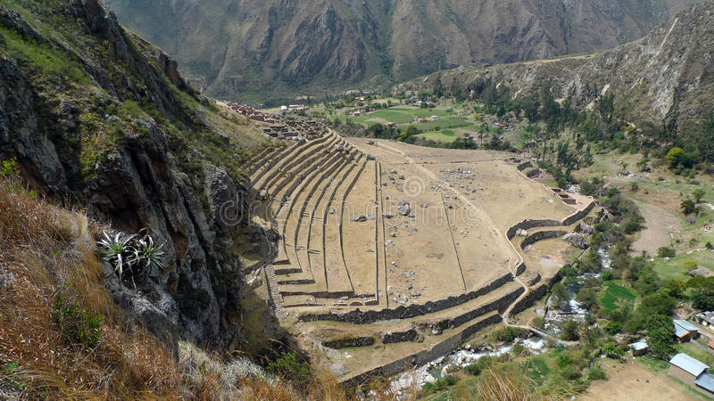 Archäologische Fundstätte entlang Inka-Spur, Peru lizenzfreie stockfotos