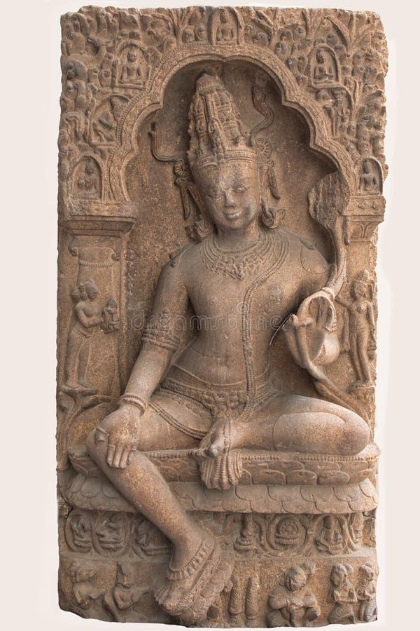 Archäologische Skulptur von Avalokitesvara von der indischen Mythologie stockfotografie